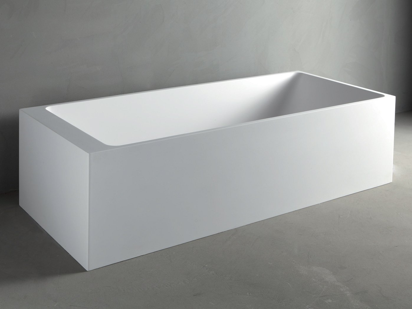 Rectangular mineralmarmo bathtub square by rifra for Rectangular bathroom layout