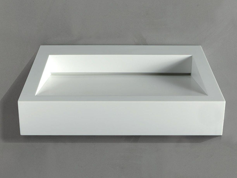 Lavabo rectangular suspendido de corian gap to wall 04 by for Lavabo rectangular