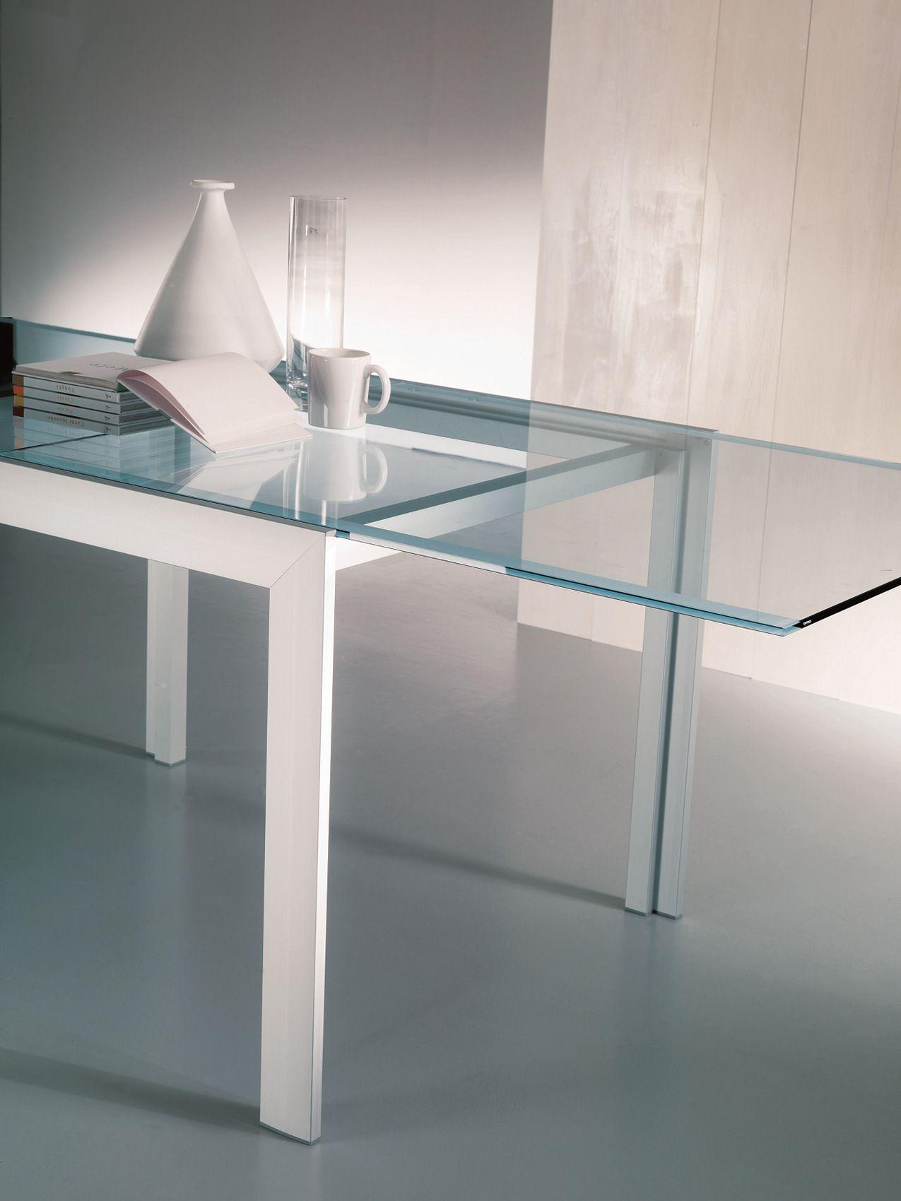 Tavolo rettangolare in cristallo axel by bontempi casa for Tavoli quadrati in cristallo