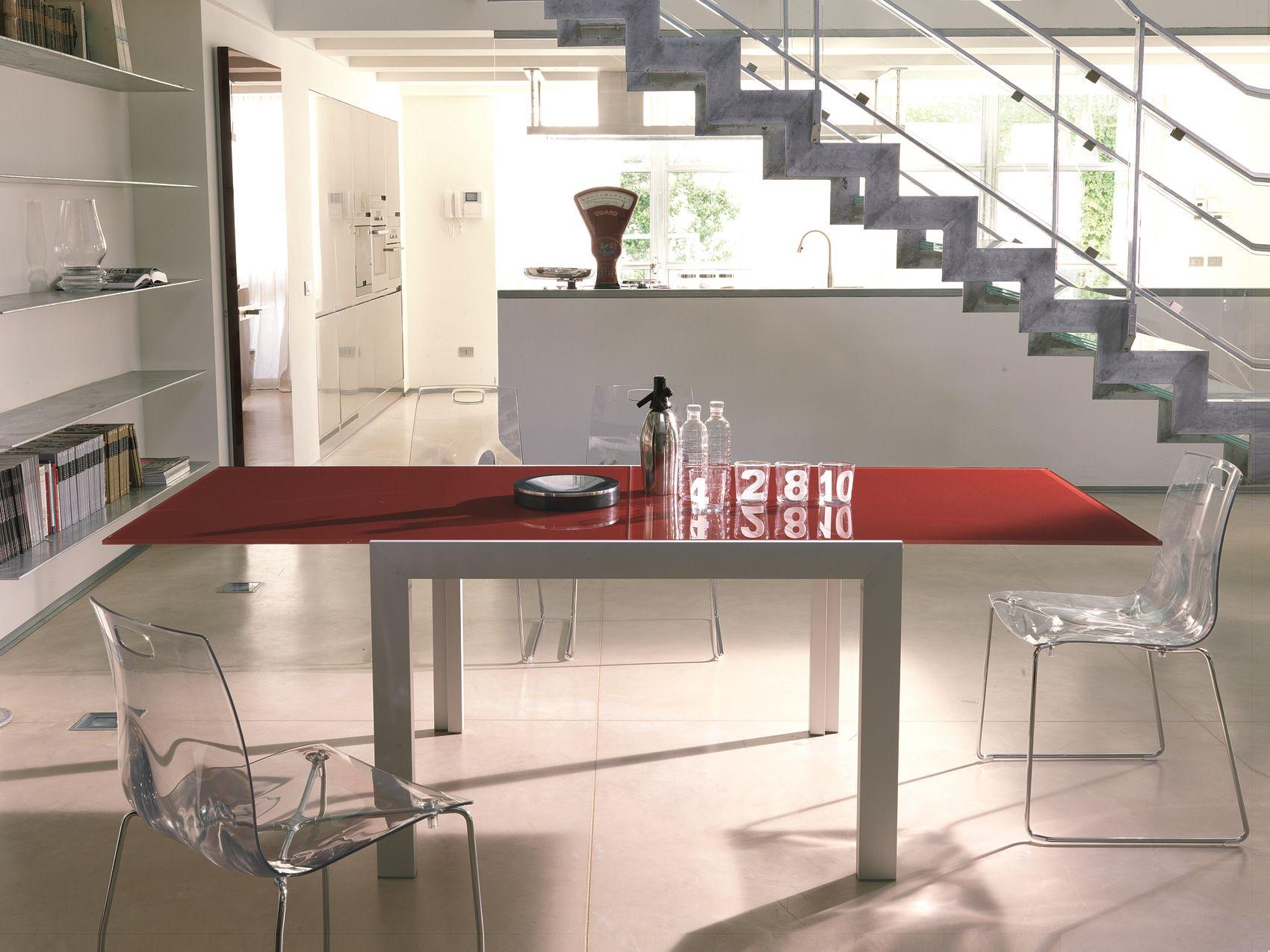 Tavolo rettangolare in cristallo axel by bontempi casa - Tavolo cristallo ...