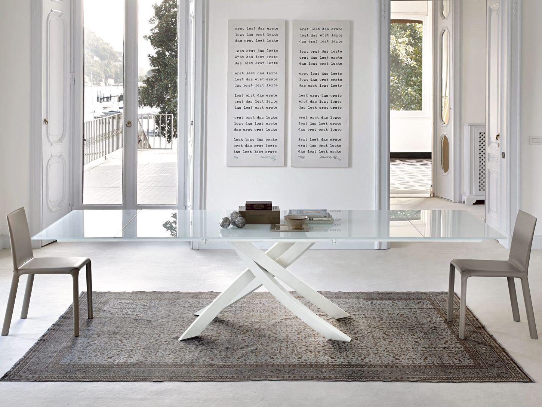 Artistico tavolo in legno e vetro by bontempi casa - Ricci casa tavoli ...