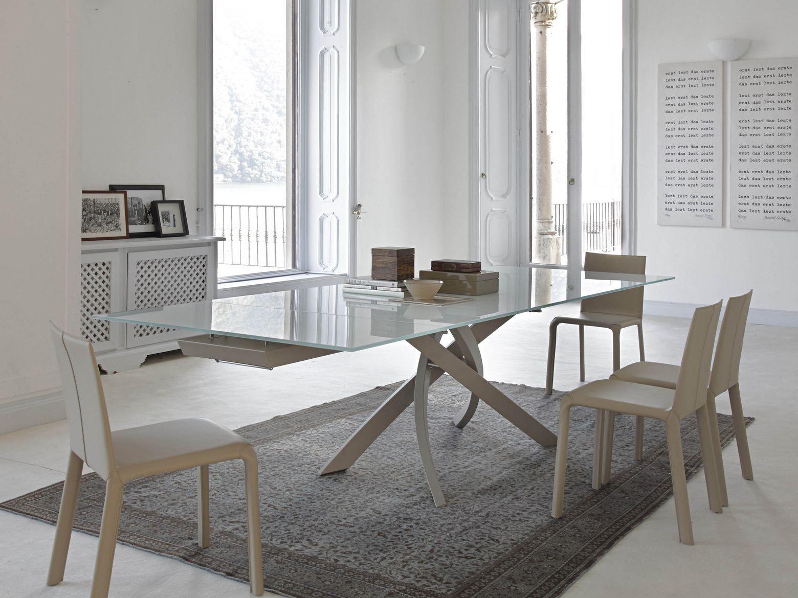 Artistico tavolo in legno e vetro by bontempi casa - Tavoli in cristallo e legno ...