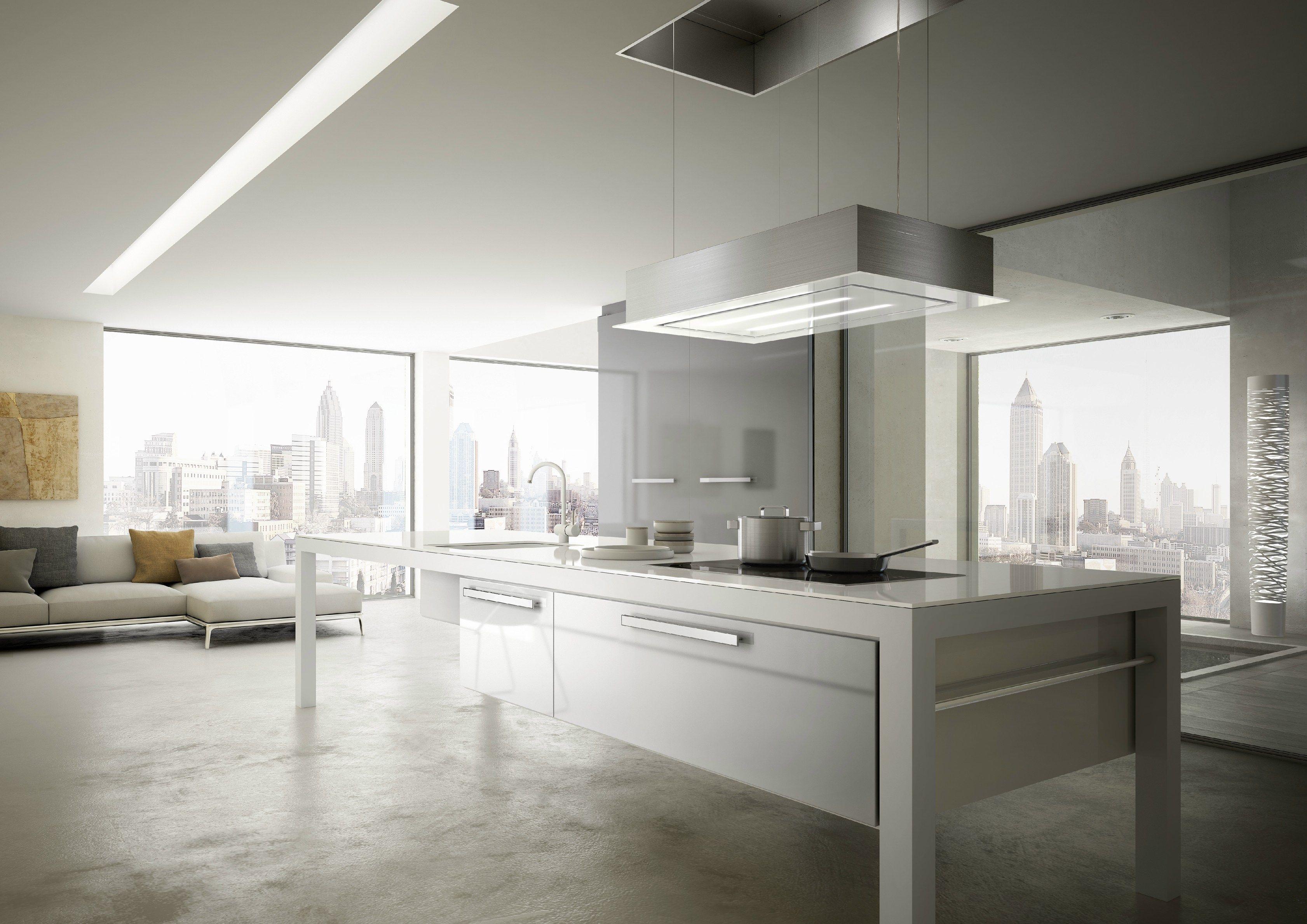 Cappa in acciaio e vetro ad incasso skylift linea built in - Sostituire cappa cucina ...