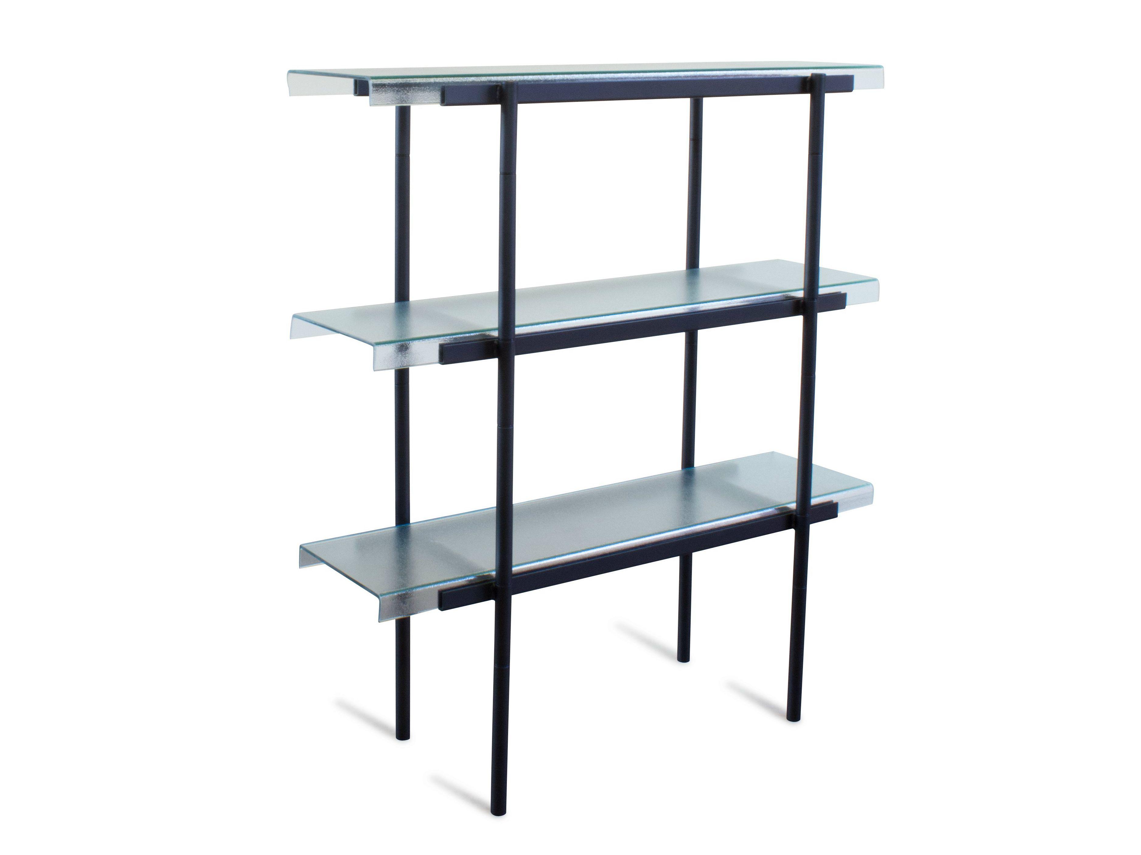 freistehendes b cherregal aus stahl und glas passerlle 100. Black Bedroom Furniture Sets. Home Design Ideas