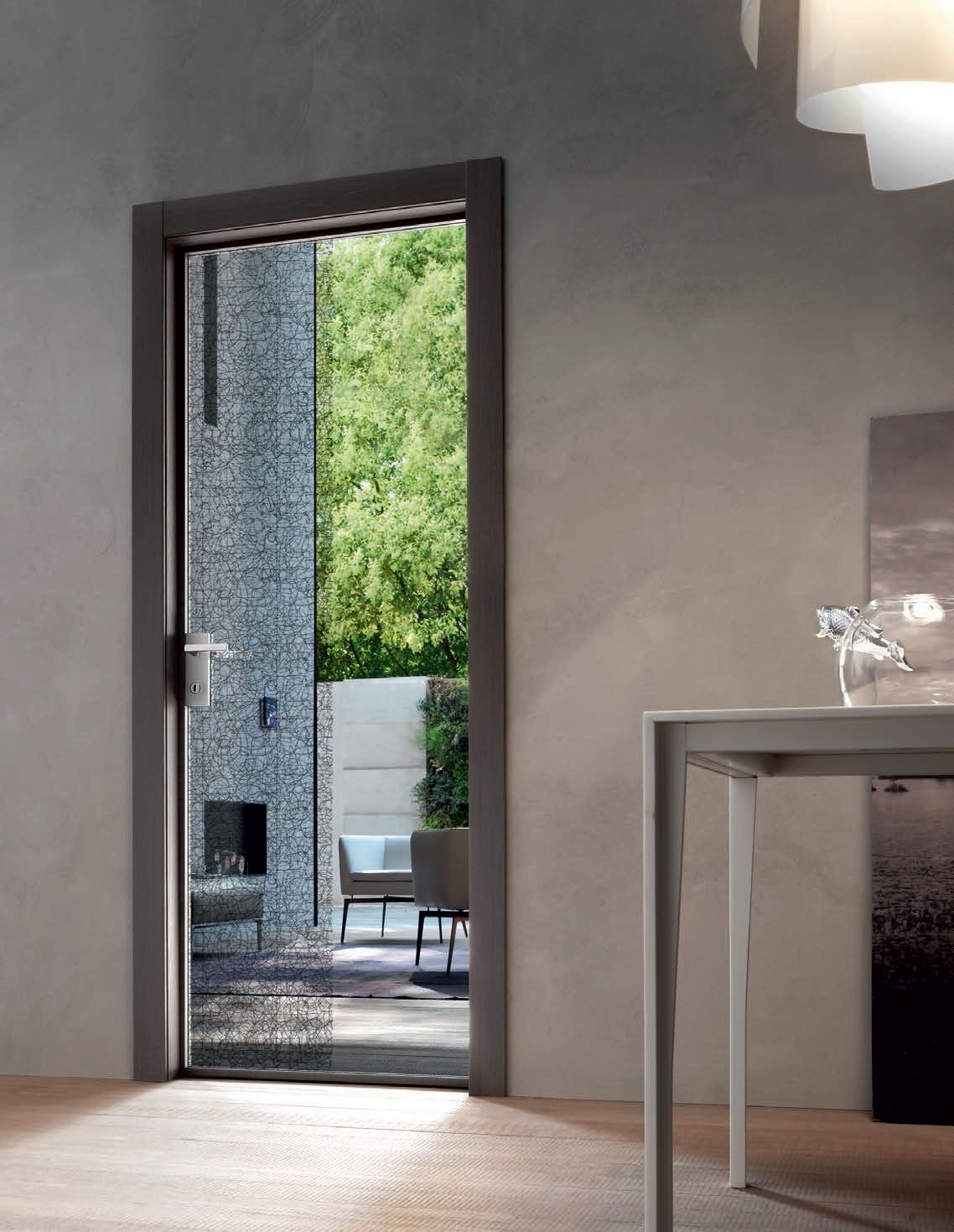 Porte poussante en verre feuillet stikla collection - Door 2000 porte ...