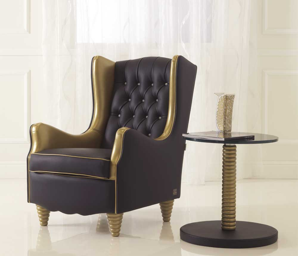 fauteuil capitonn rembourr en cuir avec accoudoirs nina. Black Bedroom Furniture Sets. Home Design Ideas