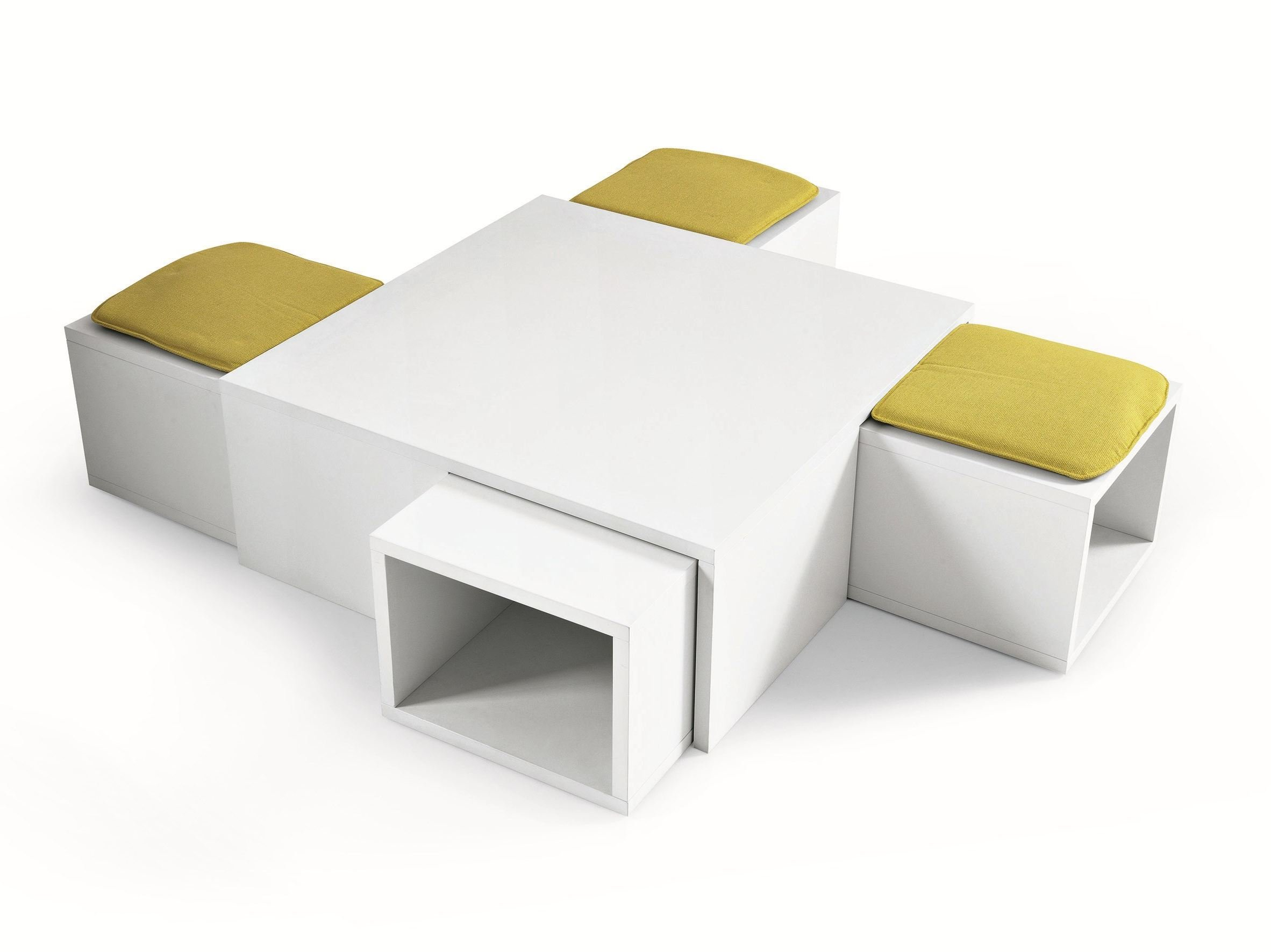 Pouf table basse 1 4 by misuraemme design renato forti - Table basse avec 6 pouf ...