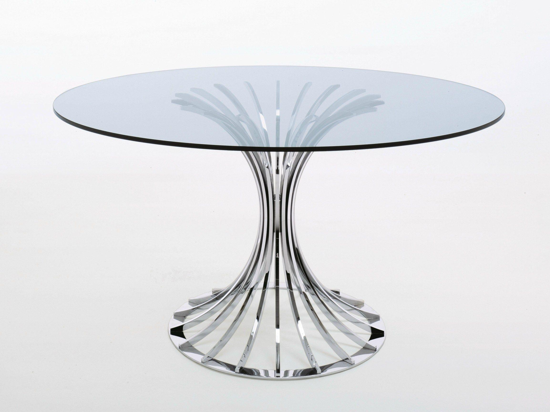 Mesa redonda de cristal bellafonte by misuraemme dise o - Mesas redondas cristal ...
