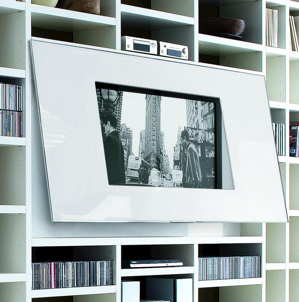 Libreria a giorno laccata con porta tv crossing collezione for Libreria divisoria con porta
