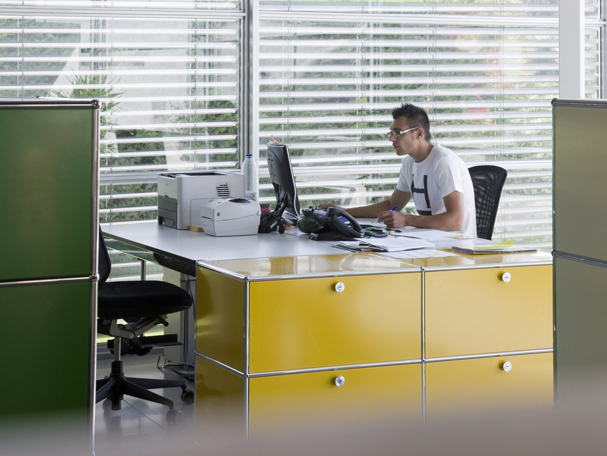 usm haller credenza as office storage office storage unit. Black Bedroom Furniture Sets. Home Design Ideas
