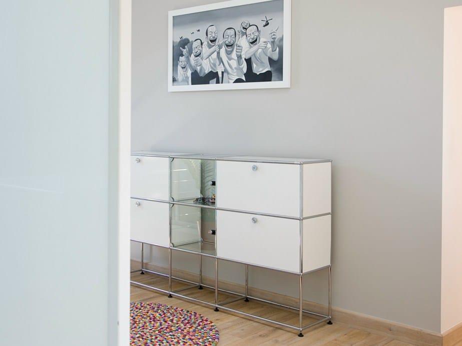 modular lacquered metal sideboard usm haller credenza for. Black Bedroom Furniture Sets. Home Design Ideas