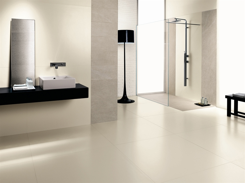 Pavimento rivestimento ingelivo in gres laminato kerlite - Carrelage sol salle de bain blanc ...