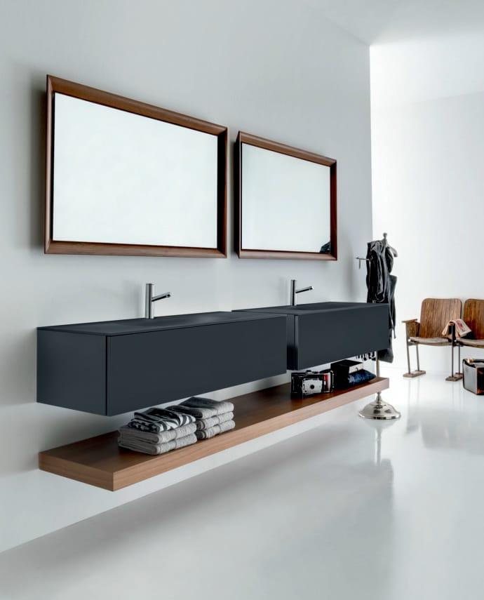 Meuble sous vasque double mural en bois avec tiroirs for Meuble mural a tiroir