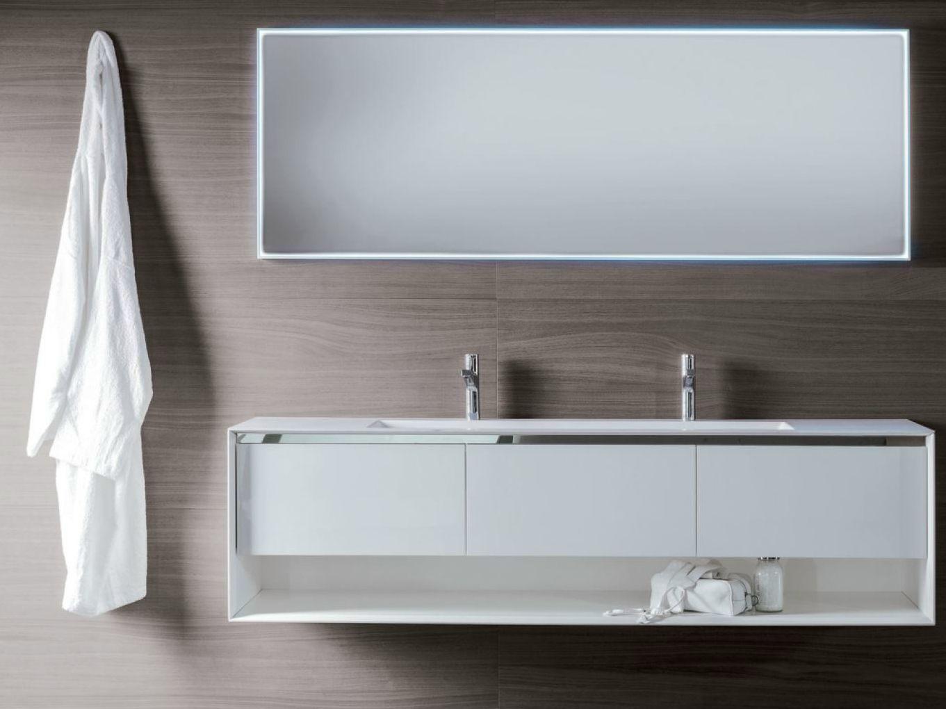 Móvel lavatório lacado suspenso de madeira com gavetas SHAPE EVO  #35302C 1361 1020