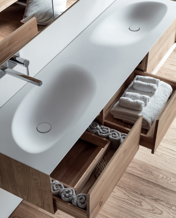 Shape evo meuble sous vasque avec tiroirs by falper design for Meuble mural en bois