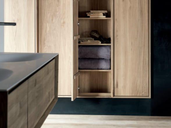 Meuble pour salle de bain haut composable en bois avec Meuble haut salle de bain bois