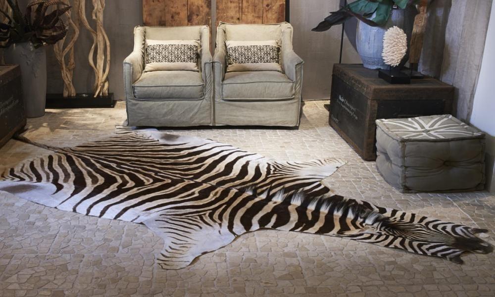 Tappeto in pelle di zebra zebra hides collezione animali for Zebra tapete