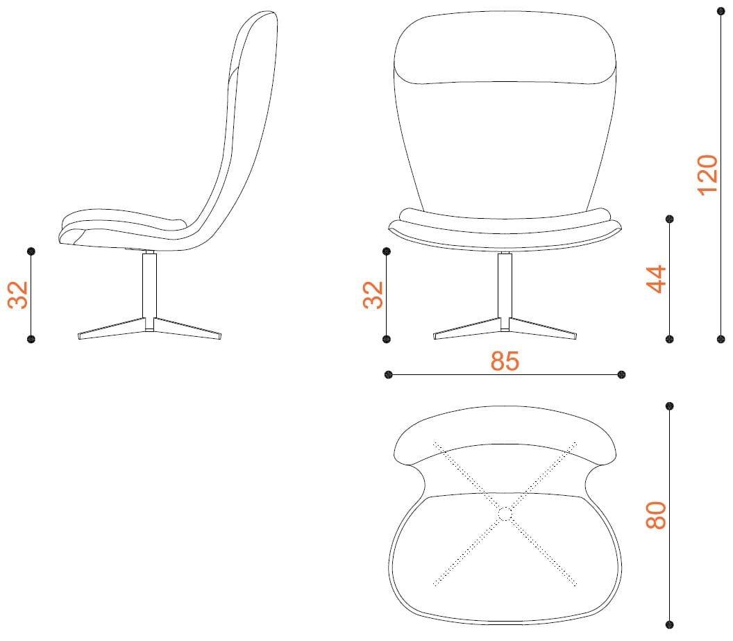 Clio fauteuil 4 branches by true design design r s true for Poltrone design dwg