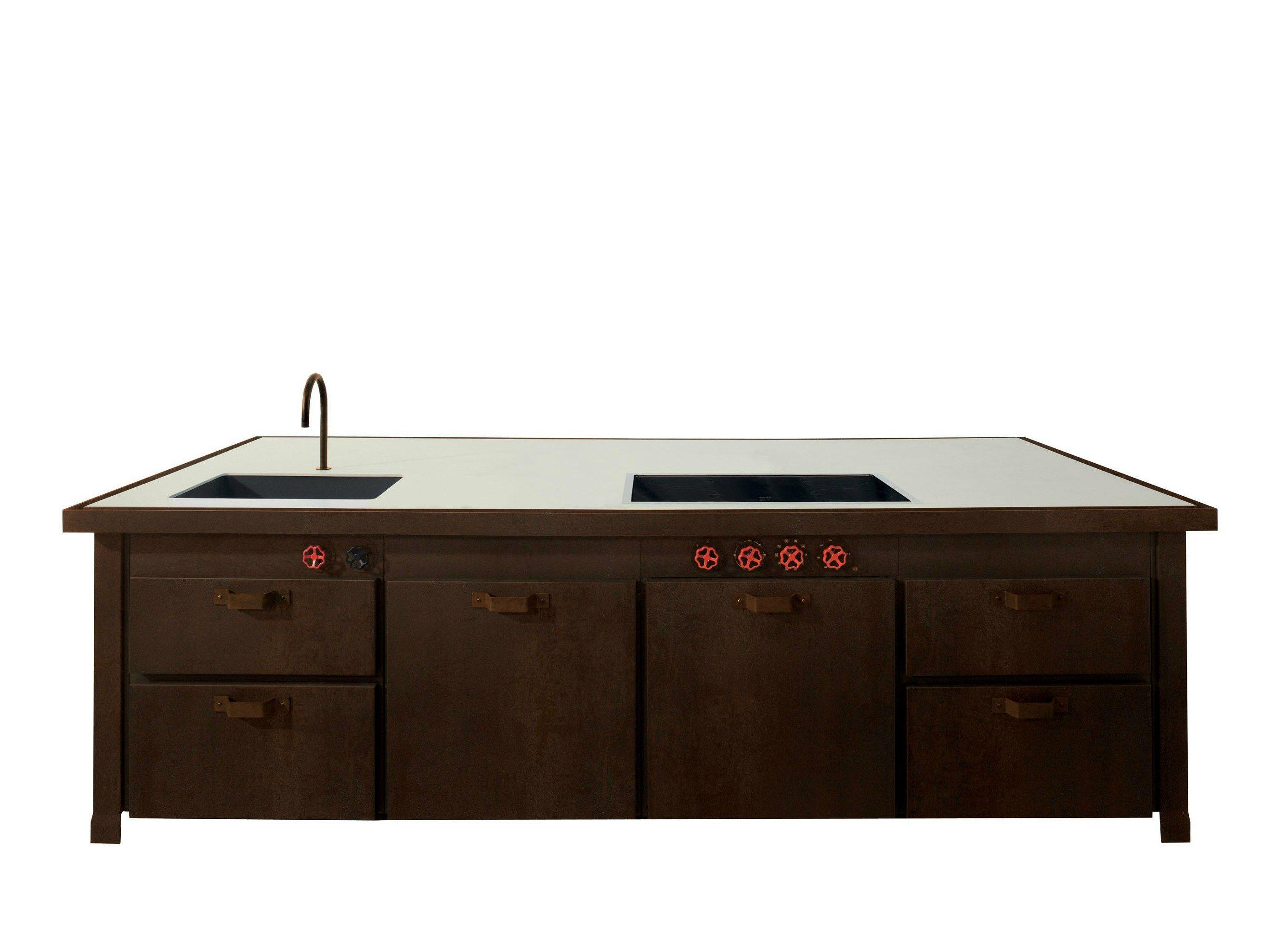 Küche aus Corten™ mit Kücheninsel MINÀ LIMITED EDITION by Minacciolo Design Silvio Stefani, R&S ...