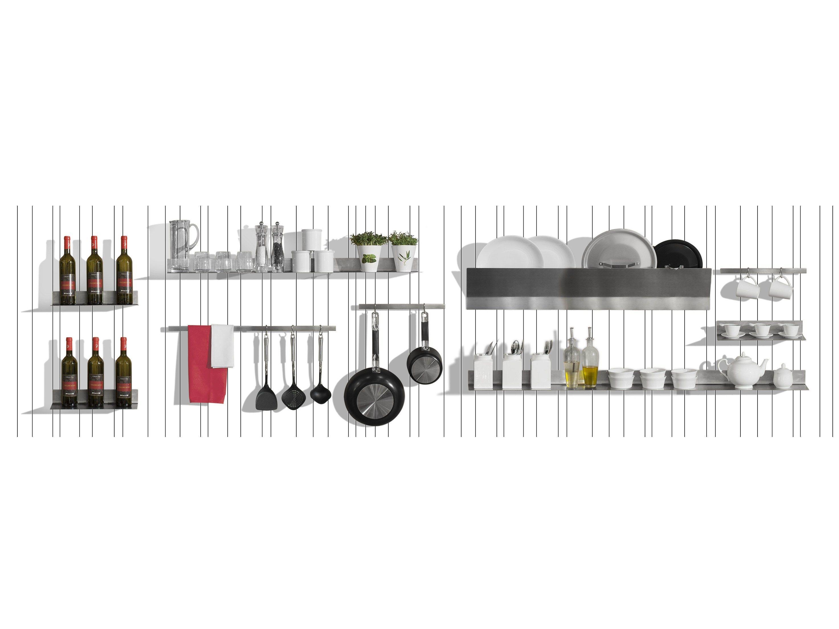 Schienale per cucina attrezzato in legno wall play by - Appendi pentole cucina ...