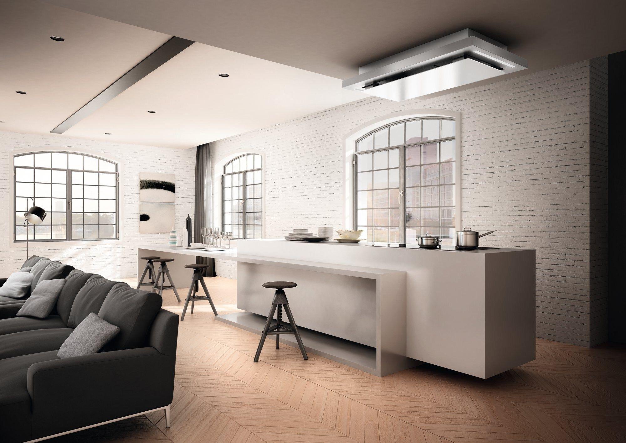 Cappa a soffitto in acciaio inox e vetro ad incasso skypad for Cappa design