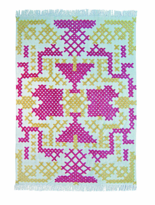 Tapis motifs rectangulaire point de croix epice by roche bobois design alnoor - Tapis contemporain roche bobois ...
