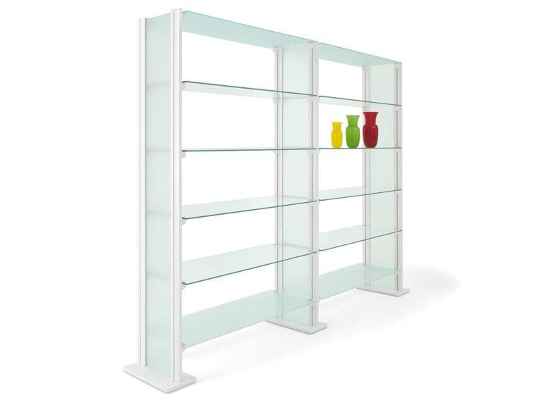 biblioth que ouverte modulable en verre tremp backup. Black Bedroom Furniture Sets. Home Design Ideas