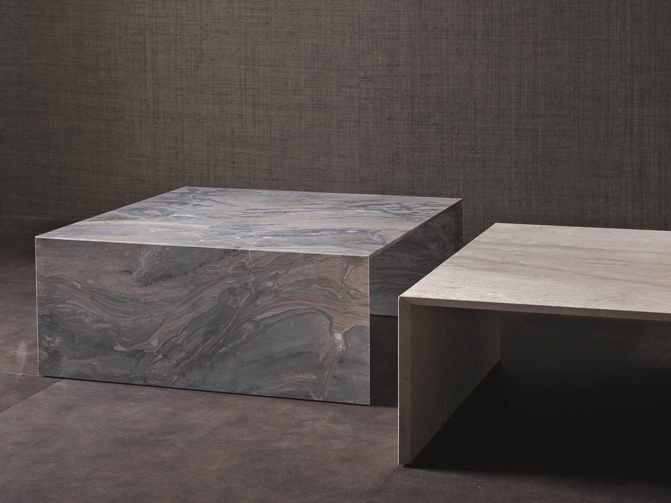 Low marble coffee table terrae by flou design pinuccio for Table basse marbre