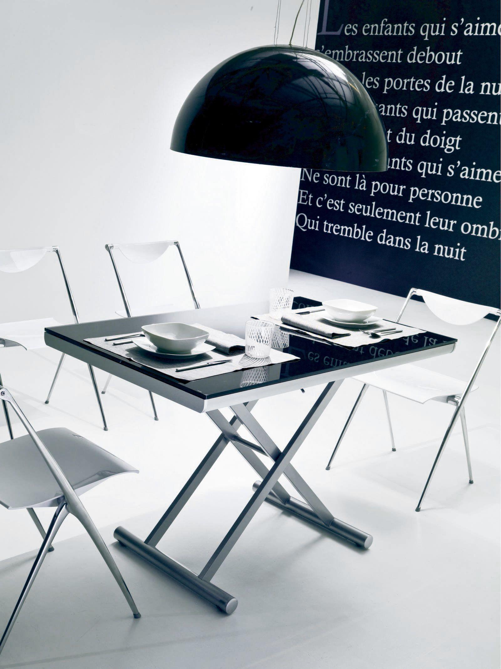 Tavolo ad altezza regolabile pieghevole ugo tavolo in for Tavoli in cristallo e acciaio