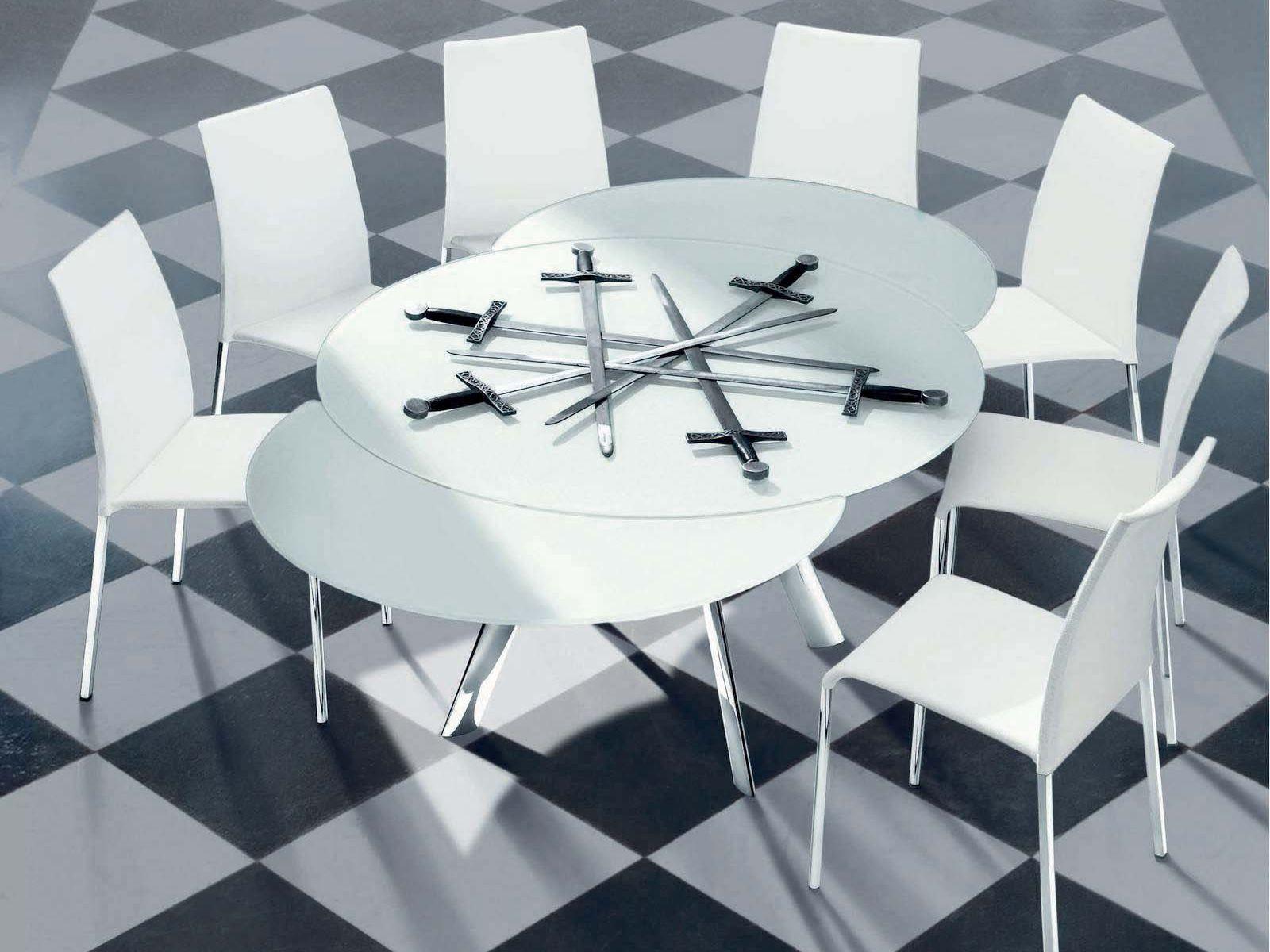 Tavolo allungabile in cristallo giro tavolo rotondo for Tavolo rotondo allungabile design