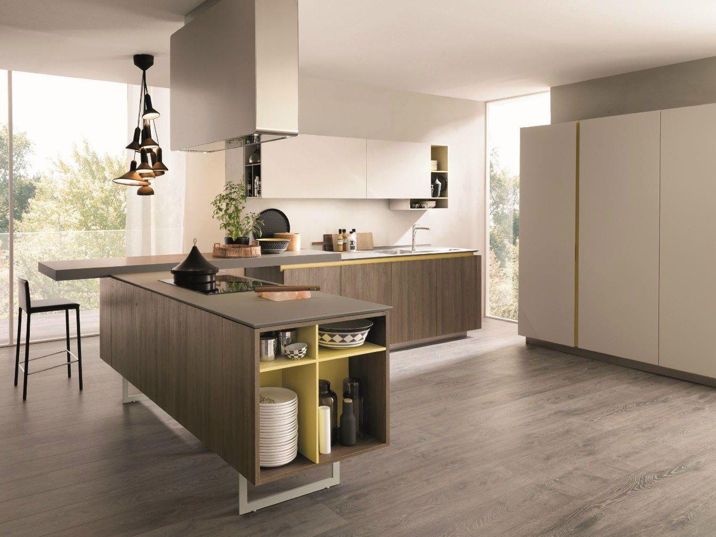 Cucina componibile con penisola filolain by euromobil - Elementi cucina componibile ...