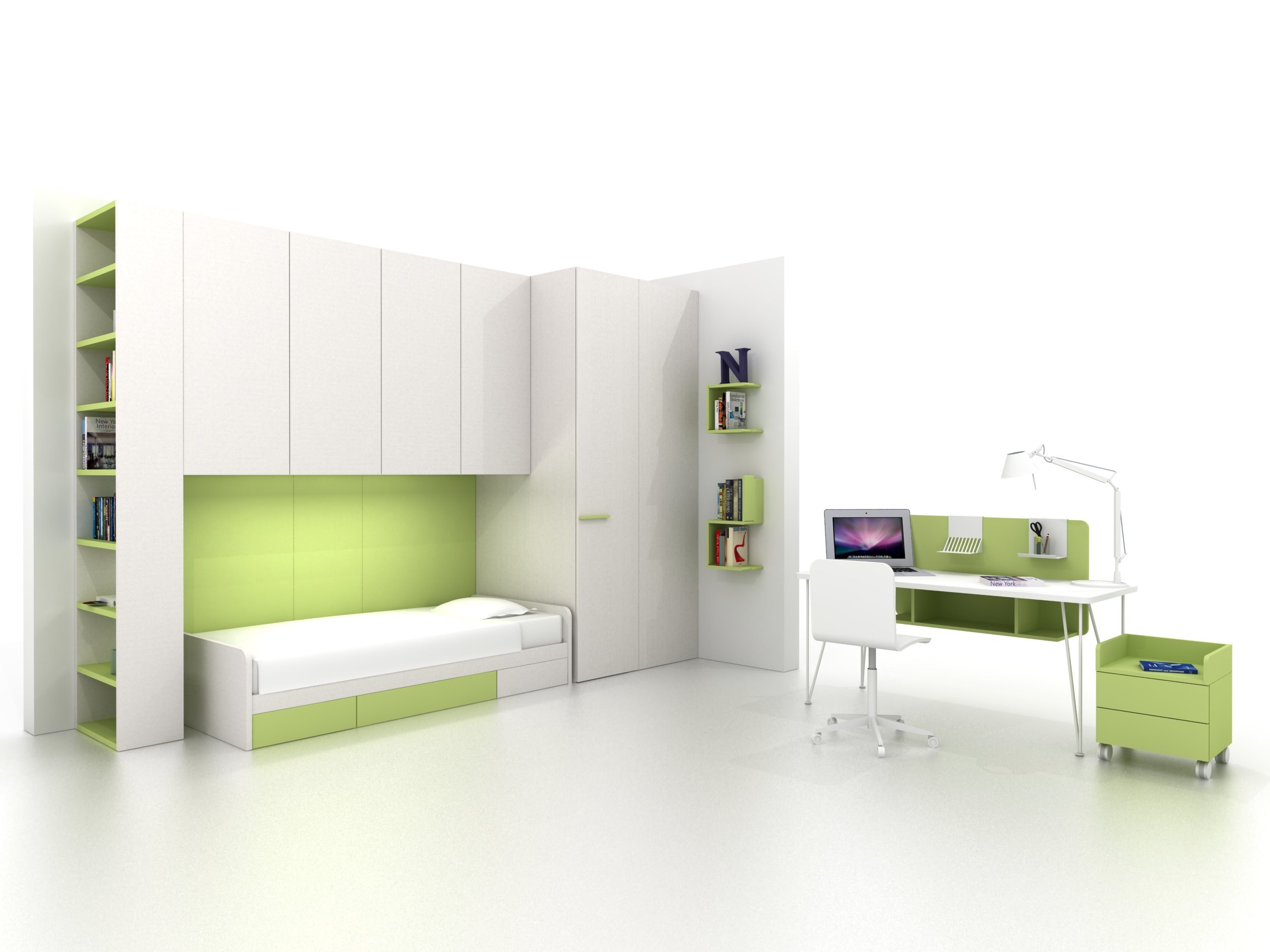 chambre d 39 ado composable avec pont de lit z406 by zalf. Black Bedroom Furniture Sets. Home Design Ideas