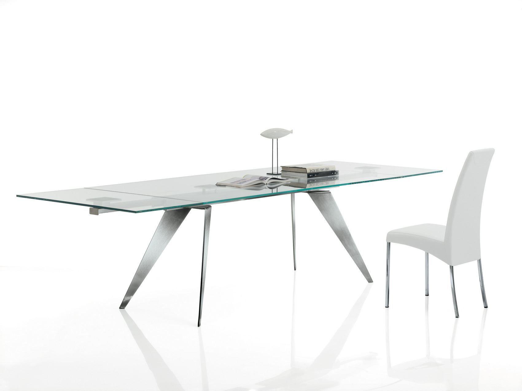 Ramos tavolo allungabile by bontempi design silvia varsi for Tavoli in cristallo e acciaio