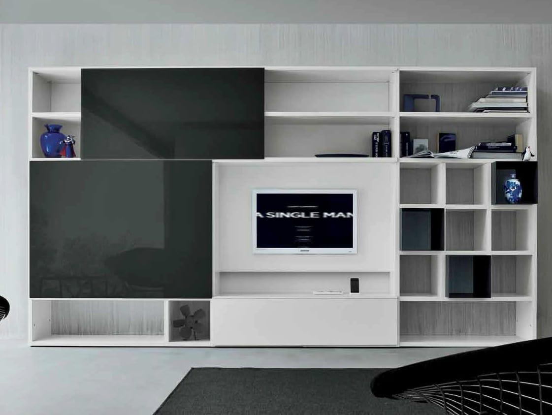 Mueble modular de pared lacado con soporte para tv speed d for Mueble con soporte para tv