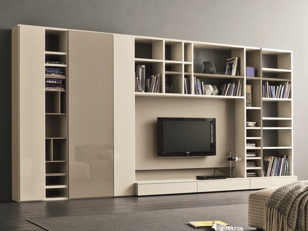 Mueble modular de pared lacado con soporte para tv speed f - Muebles tv de diseno ...