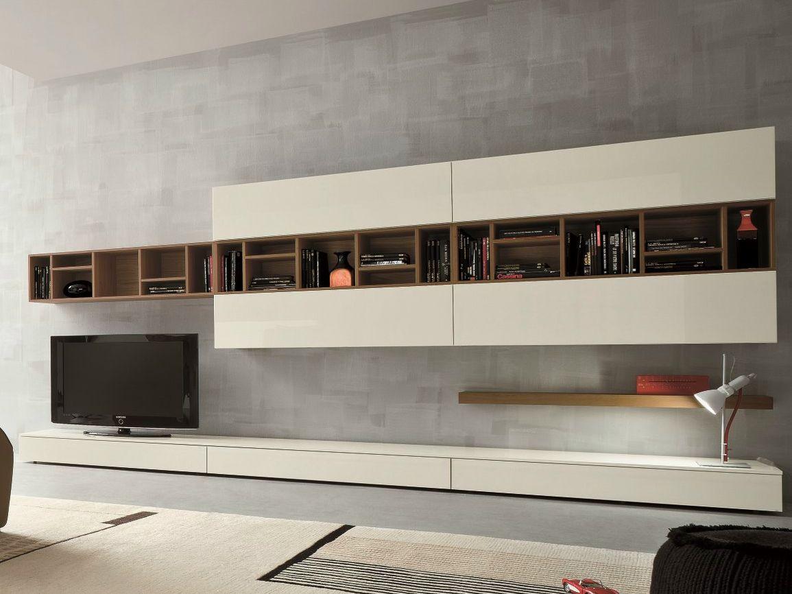 Paroi murale tv meuble de salon contemporain for Parois murales modulables
