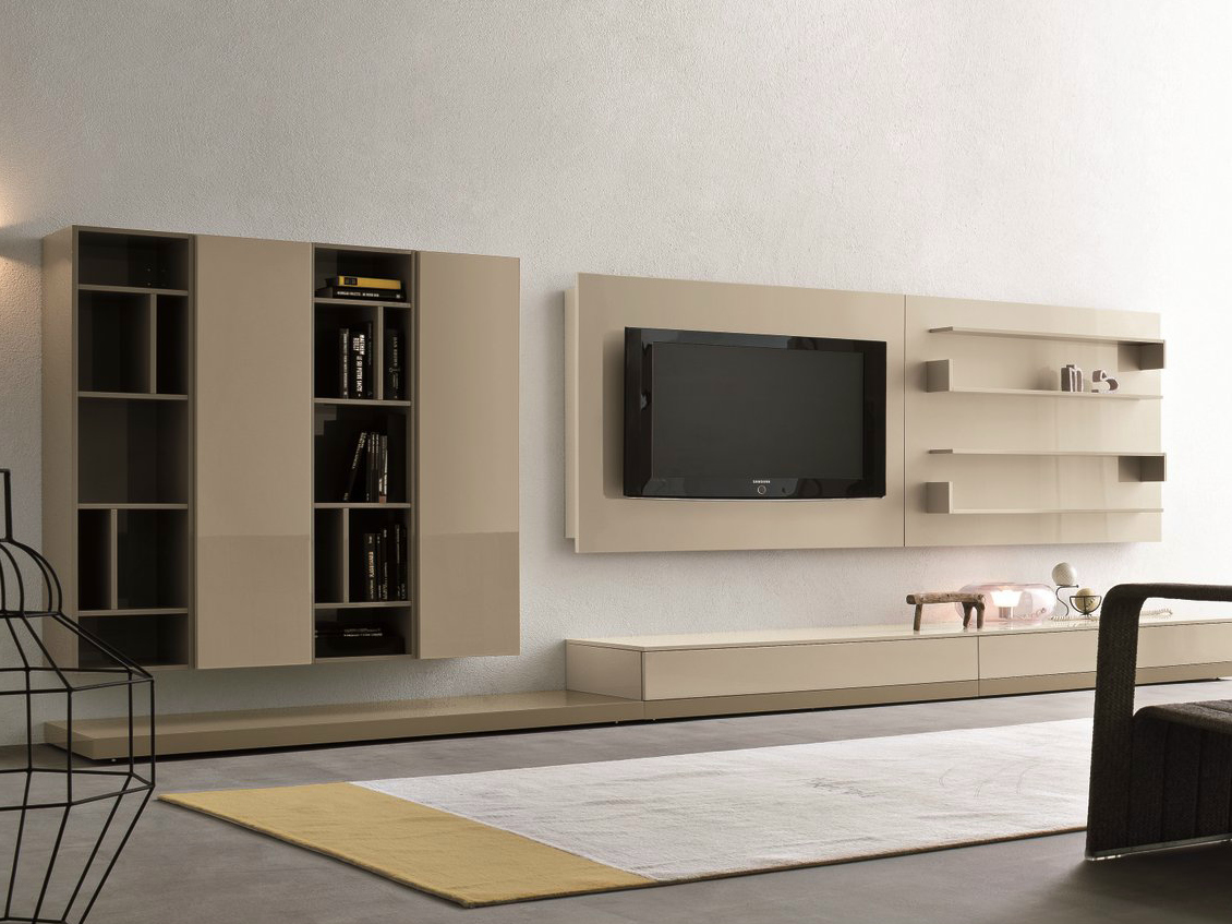 Mueble modular de pared composable con soporte para tv for Modulares para tv modernos