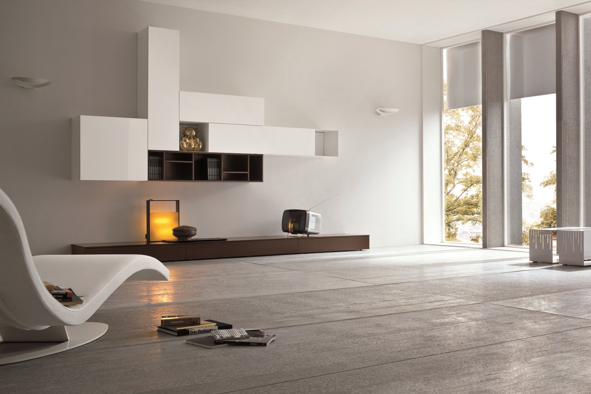 Parete attrezzata componibile laccata slim 7 collezione for Industria mobili