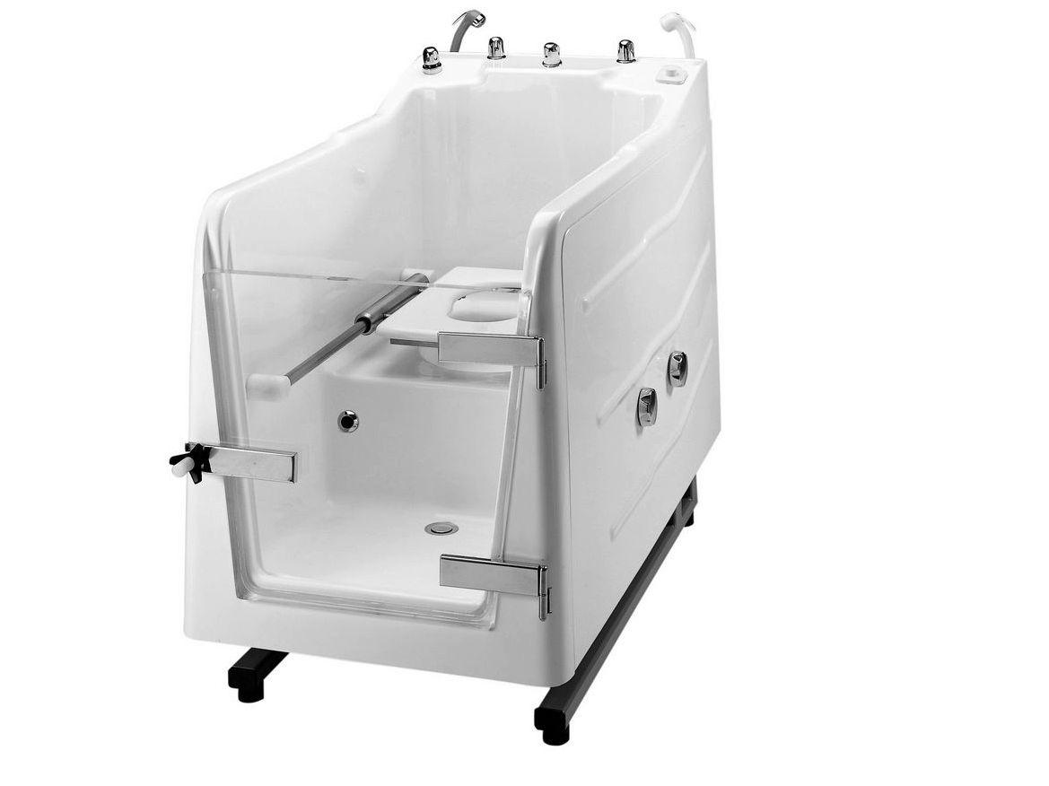 Vasca da bagno in vetroresina con porta con wc integrato for Ponte giulio