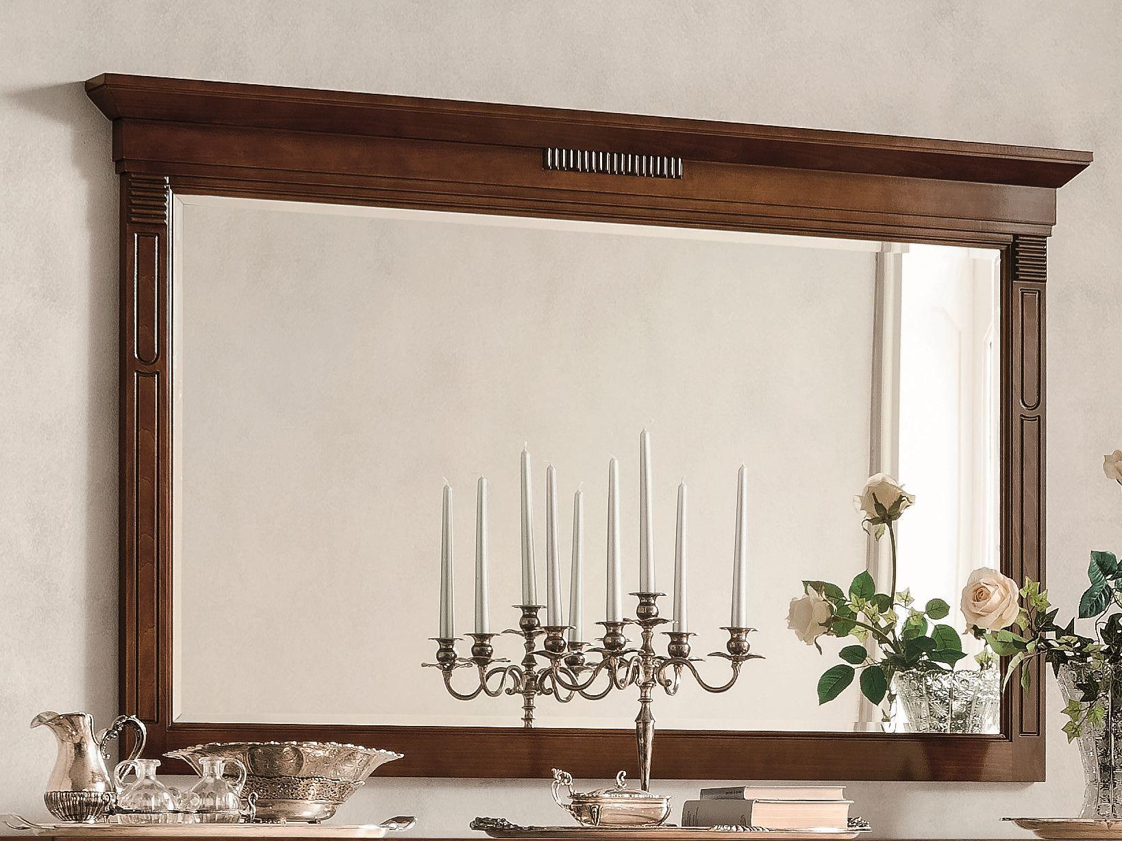 Specchio in noce a parete con cornice tiffany collezione for Specchio noce