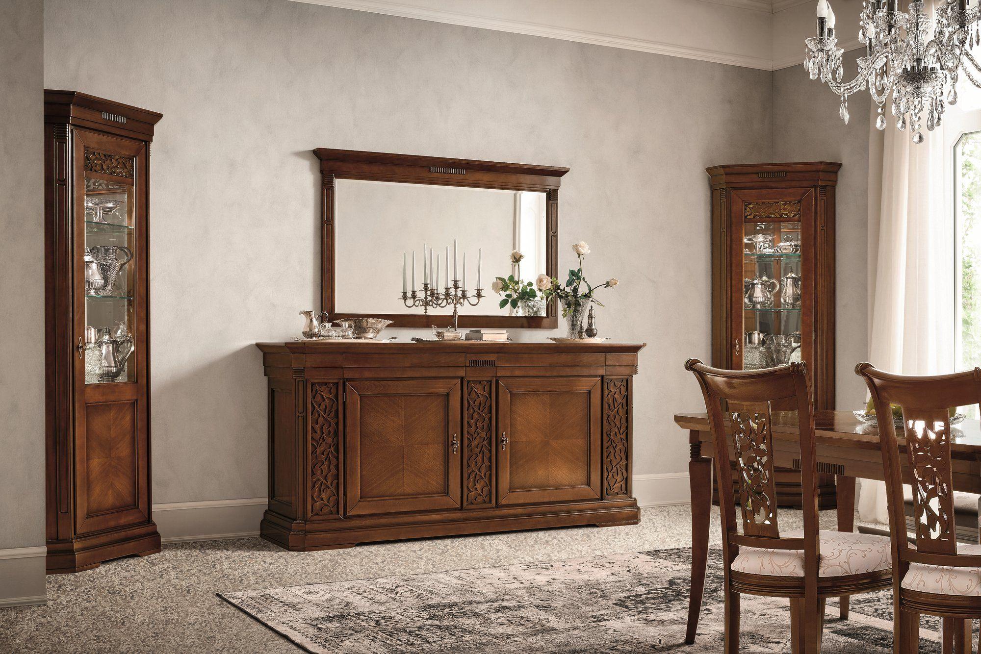 Specchio in noce a parete con cornice tiffany collezione tiffany noce by dall agnese design - Dall agnese mobili classici ...