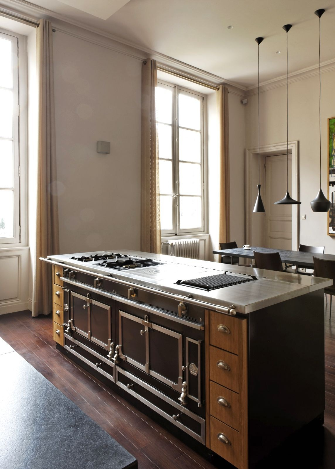 cucina a libera installazione professionale in acciaio islands la cornue la cornue. Black Bedroom Furniture Sets. Home Design Ideas
