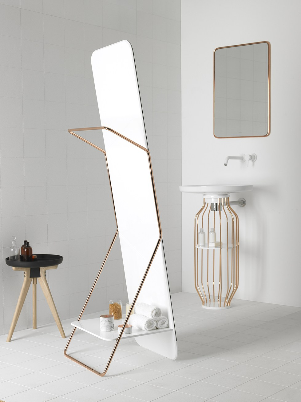Freestanding Bathroom Mirror Bowl Collection By Inbani