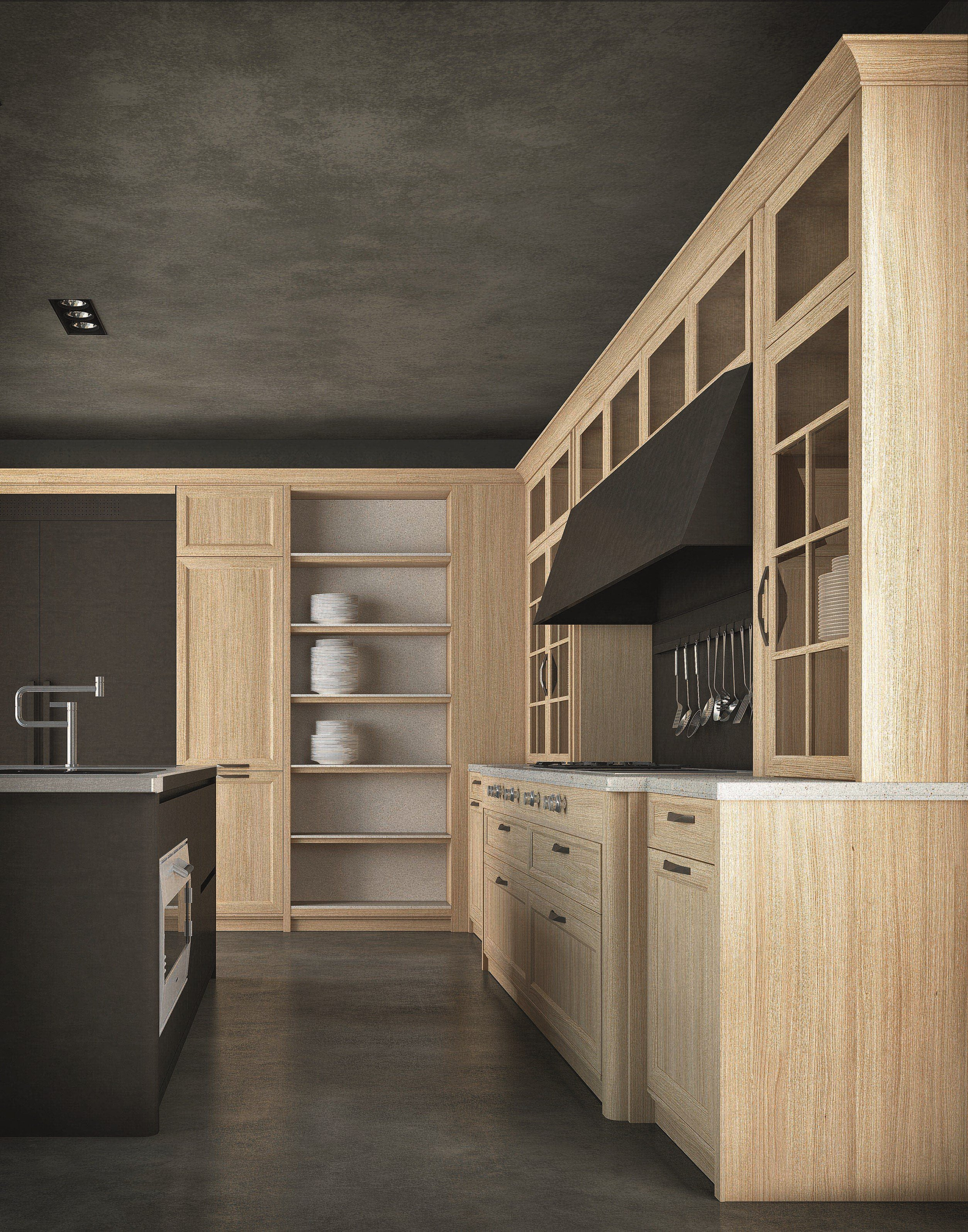 Wooden fitted kitchen with handles diamond by cesar for Wooden fitted kitchen
