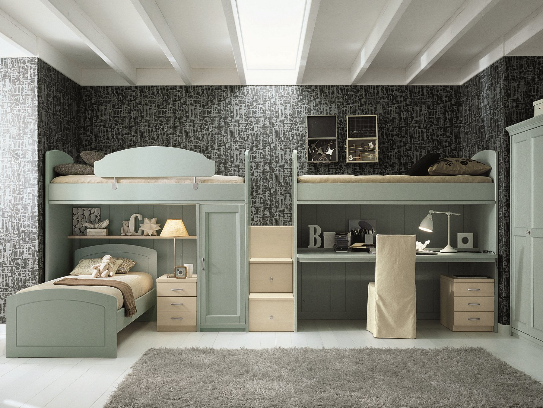 chambre mezzanine pour gar on fille nuovo mondo n16 by scandola mobili. Black Bedroom Furniture Sets. Home Design Ideas