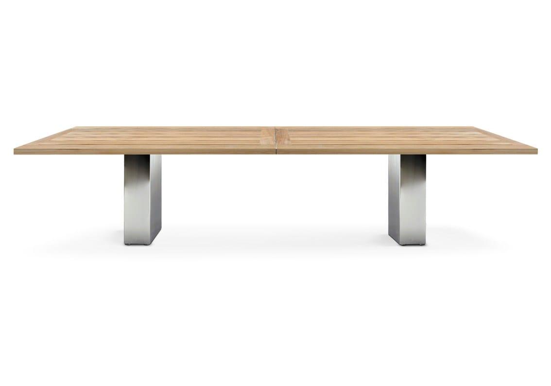 Doble table en teck by fueradentro design hendrik steenbakkers for Table de jardin en acier