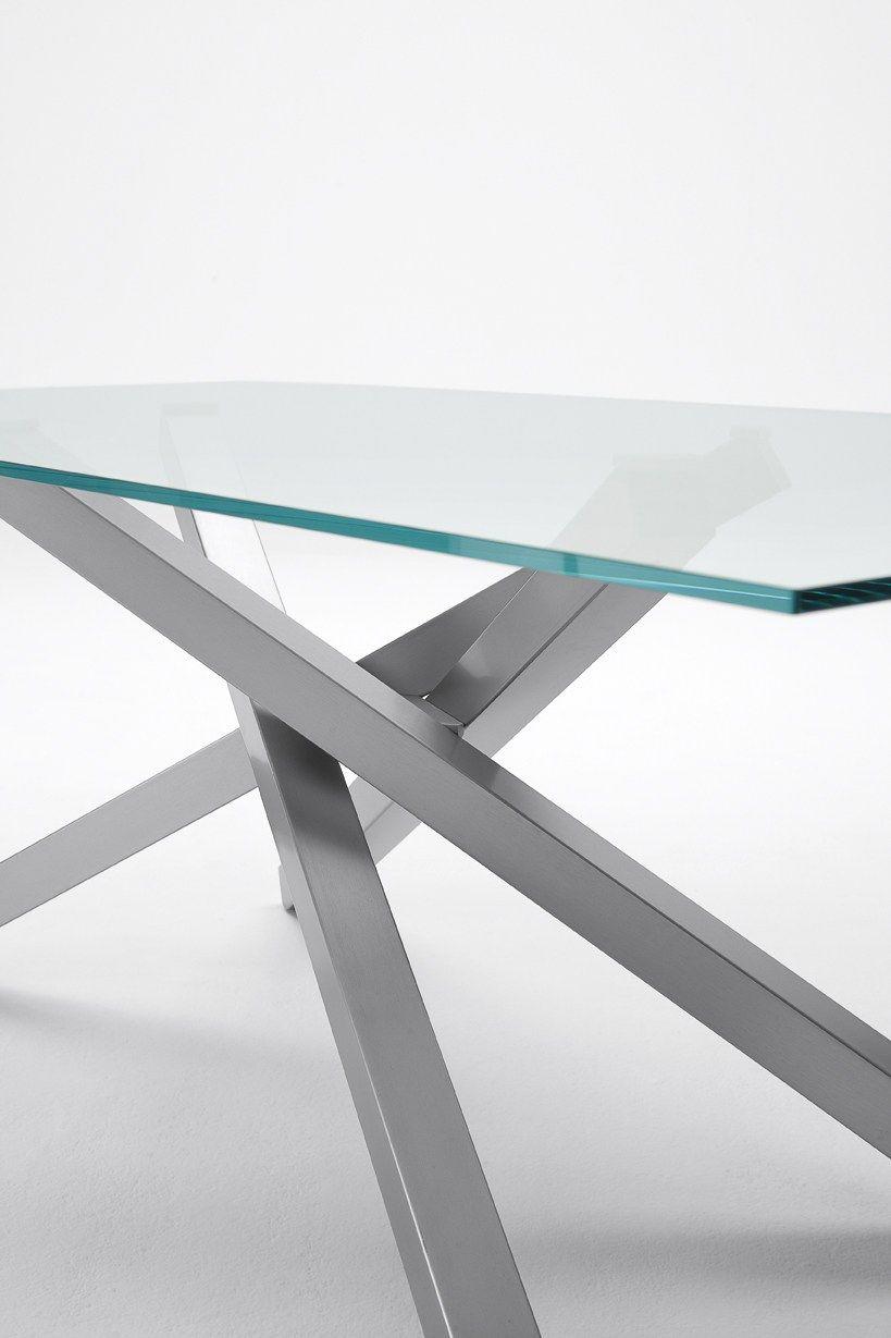 Pechino tavolo in acciaio e vetro by midj design studiokappa for Tavolo acciaio design