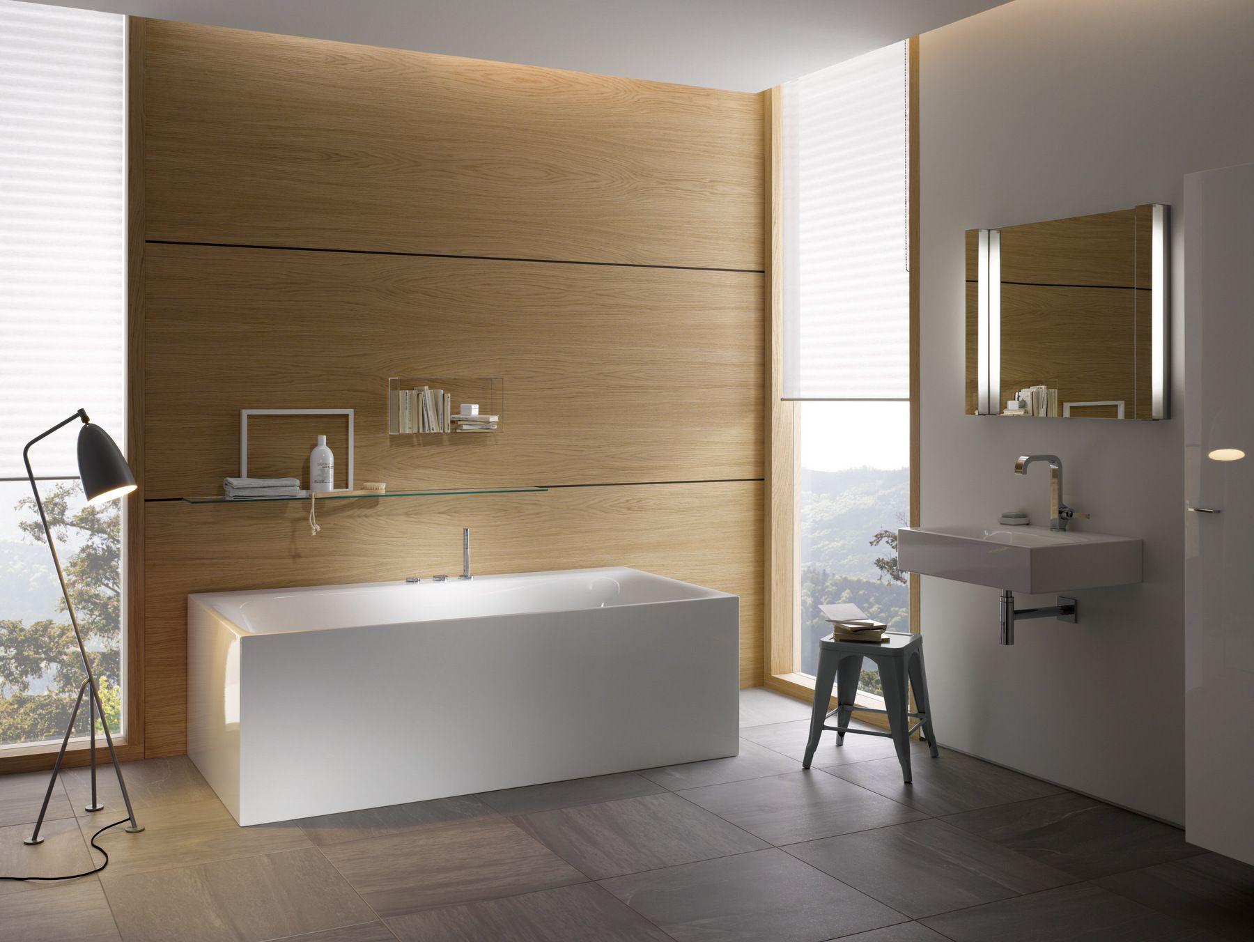 Contemporary Style Rectangular Steel Bathtub Bettelux I