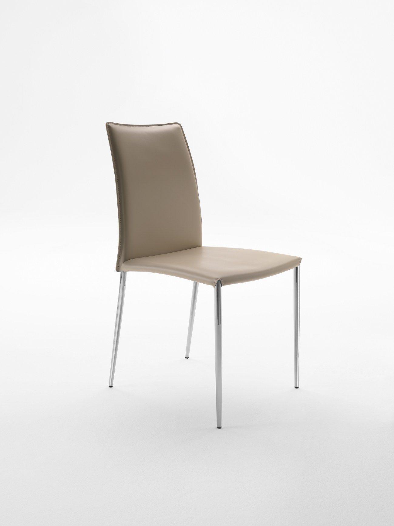 chaise rembourr e en cuir tann e delfina sr collection delfina by midj design studiokappa. Black Bedroom Furniture Sets. Home Design Ideas