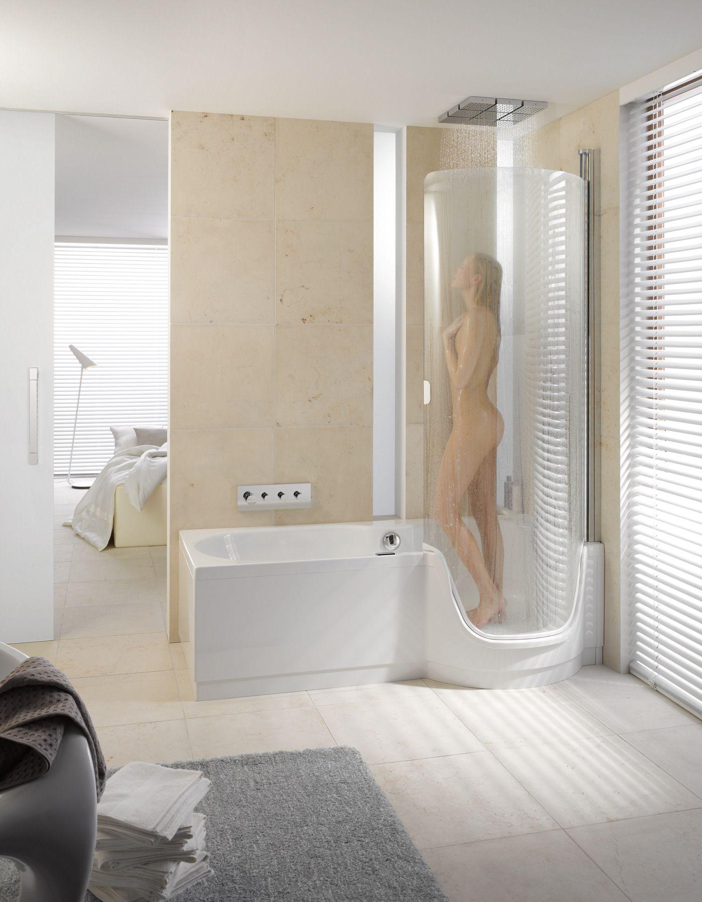 Vasca da bagno con doccia con porta bettetwist ii by bette - Bagno doccia vasca ...